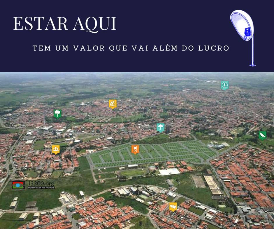 Vista aérea da cidade com ícones